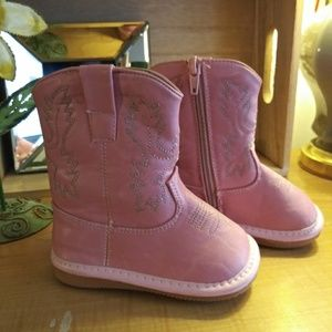 Pink Toddler Leather Cowgirl Boots Size 5